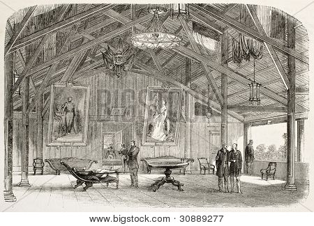 Main lounge of Vice-Admiral Louis Adolphe Bonard in Saigon, old illustration. Created by Godefroy-Durand, published on L'Illustration, Journal Universel, Paris, 1863