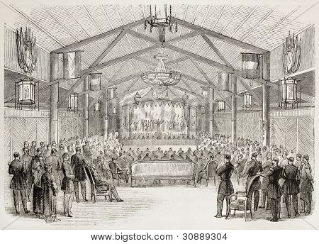Theatrical representation in Vice-Admiral Louis Adolphe Bonard residence in Saigon, old illustration. Created by Godefroy-Durand, published on L'Illustration, Journal Universel, Paris, 1863