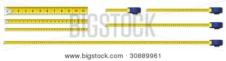 metal measure tapes set isolated including one meter