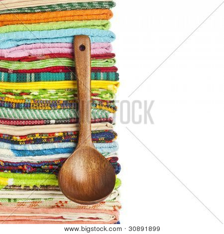 Stack of Kitchen towels on white background