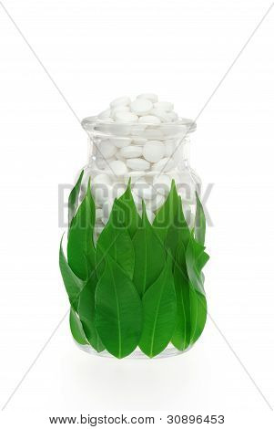Herbal supplement pills in medicine bottle with fresh leaves - alternative medicine concept