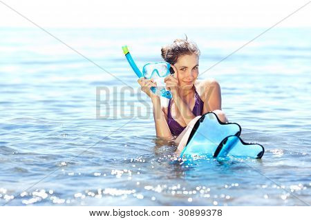 Girl With Snorkel Gear
