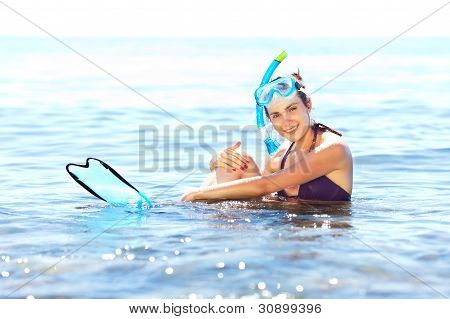 Girl With Snorkel Equipment