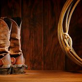 American West Rodeo Cowboy Boots And Lasso Lariat