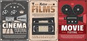 Cinema Festival Of Retro Movie Vector Posters. Film Camera, Reel And Vintage Projector, Video Tape C poster