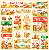 Fast Food Vector Tags With Junk Meal And Drink. Pizza, Hamburger And Hot Dog, Fries, Soda And Chicke poster