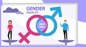 Gender Equality Vector Illustration. Flat Tiny Persons With Sex Symbol Concept. Gender Equality Info poster