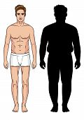 Color Vector Illustration Of A Fat Man Vs Fitness Man. Male Transformation. Weight Loss For Men. Sil poster