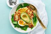 Keto Ketogenic Diet Soft Boiled Eggs With Grilled Haloumi, Avocado And Lettuce, Mediterranean Cuisin poster