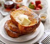 French Toast, Warm French Toast Made Of Sliced Brioche With Fresh Butter, Sprinkled With Powdered Su poster