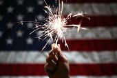 Hand holding lit sparkler in front of the American Flag for 4th of July celebration poster