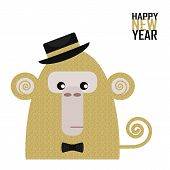 New Year Postcard With Golden Monkey, Year Of The Monkey, Year 2028 Design,  Illustration / Chinese  poster