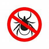 Ticks Stop Sign. Mite Warning Sign. Encephalitis Parasite Icon.  Illustration Of Tick Warning Sign.  poster