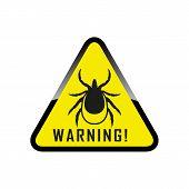 Ticks Stop Sign. Mite Warning Sign. Encephalitis Parasite Icon.  Illustration Of Tick Warning Sign O poster