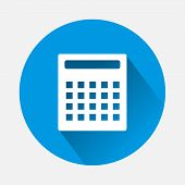 Vector Image Calculator On Blue Background. Flat Image Calculator With Long Shadow. Layers Grouped F poster