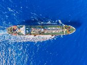 Oil Ship Chemical Tanker Sails Blue Sea. Aerial Top View. Concept Export poster