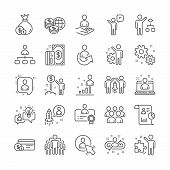 Management Line Icons. Set Of Startup Strategy, Business Audit And Employee Icons. Business Strategy poster