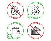 Do Or Stop. Gift, Coupons And Holiday Presents Icons Simple Set. Carousels Sign. New Year, Shopping  poster