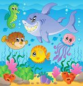Постер, плакат: Изображение с подводных тема 3 векторные иллюстрации
