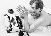 Creativity Crisis. Man Writer Lay Bed Bedclothes Working Book. Writer Tired Desperate Author Used Ol poster