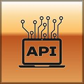 Black Computer Api Interface Icon Isolated On Gold Background. Application Programming Interface Api poster