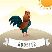 Adorable Rooster Cartoon, Vector Cartoon Cute Colorful Chicken. Cartoon Rooster Crowing, Cute Cartoo poster