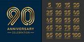 Set Of Premium Anniversary Logotype. Golden Anniversary Celebration Emblem Design For Company Profil poster