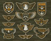 Vintage Armed Forces Insignias And Badges Of Different Shapes With Eagles Stars Anchor Crossed Snipe poster