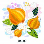 Fresh Onion Vegetable Juice Splash Organic Food Juicy Vegetables Splatter On Abstract Coloful Splatt poster