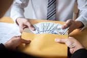 Dishonest Cheating In Business Illegal Money, Businessman Giving Bribe Money In Envelope To Business poster