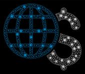 Glowing Mesh Global Finances With Sparkle Effect. Abstract Illuminated Model Of Global Finances Icon poster