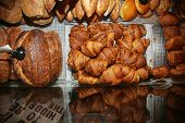 Fresh Baked Croissants. Warm Fresh Buttery Croissants and Rolls. French and American Croissants and  poster