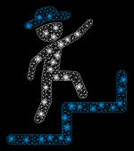 Glowing Mesh Gentleman Steps Upstairs With Glitter Effect. Abstract Illuminated Model Of Gentleman S poster