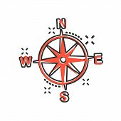Global Navigation Icon In Comic Style. Compass Gps Vector Cartoon Illustration On White Isolated Bac poster