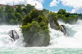 A Beautiful Waterfall On The River Rhine In The City Neuhausen Am Rheinfall In Northern Switzerland. poster