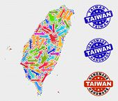 Vector Handmade Combination Of Taiwan Map And Scratched Seals. Mosaic Taiwan Map Is Constructed Of R poster