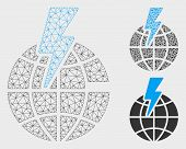 Mesh Global Shock Model With Triangle Mosaic Icon. Wire Frame Polygonal Mesh Of Global Shock. Vector poster