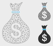 Mesh Fund Model With Triangle Mosaic Icon. Wire Frame Polygonal Mesh Of Fund. Vector Mosaic Of Trian poster