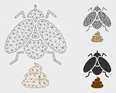 Mesh Fly Shit Model With Triangle Mosaic Icon. Wire Carcass Polygonal Mesh Of Fly Shit. Vector Mosai poster