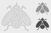 Mesh Fly Insect Model With Triangle Mosaic Icon. Wire Carcass Triangular Network Of Fly Insect. Vect poster
