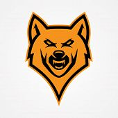 Head Wolf Angry Vector For Emblem Design With Orange Color On The White Background. Wild Animal Silh poster