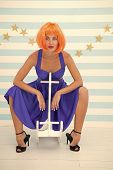 Woman Playful Cheerful Mood Having Fun. Fun And Entertainment. Back To Childhood. Girl Wig Rides Swi poster