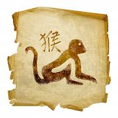 Monkey  Zodiac Icon, Isolated On White Background.