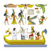 Egyptian Vector Pharaoh Character Ancient Man Woman God Ra Anubis Statue On Boat Of Egypt Culture Hi poster
