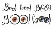 Modern Calligraphy Of Word Boo And Eyes . Stylish Typography Inscription With Different Handwritten  poster