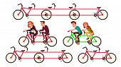 Bicycle Tandem Riding By Characters Set . Bycicle For Friends Activity Healthy Time Or Joint Trip To poster
