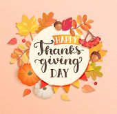 Happy Thanksgiving Day Banner, Poster. Autumn Congratulation Surrounded By Seasonal Fall Leaves, Row poster