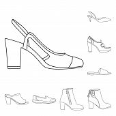 Bitmap Illustration Of Footwear And Woman Sign. Set Of Footwear And Foot Stock Symbol For Web. poster