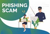 Burglar Holding Fishing Tackle With Hooked Envelope. Phishing Scam Presentation Slide Template. Cybe poster
