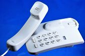 Telephone, Desktop Wired. Modern Telephone - Transmits And Receives Sound Information Over Long Dist poster